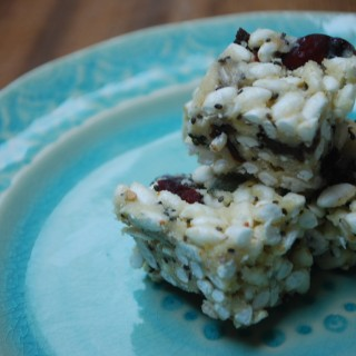 Berry & Chia Seed Rice Crispy Squares