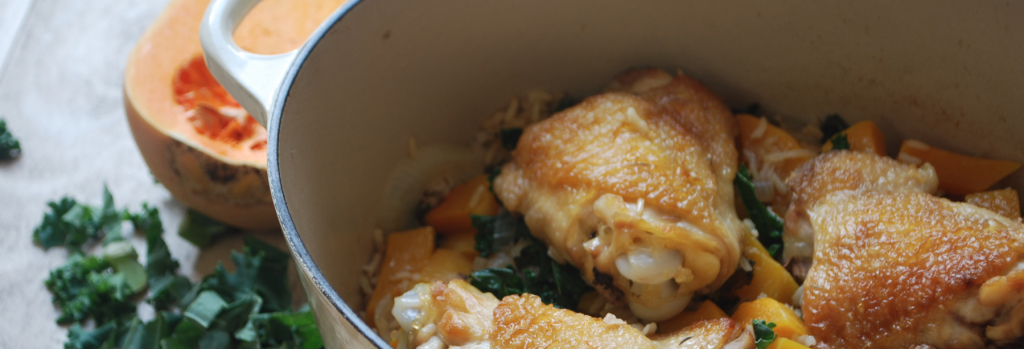 One Pot Chicken with Kale and Butternut Squash - header