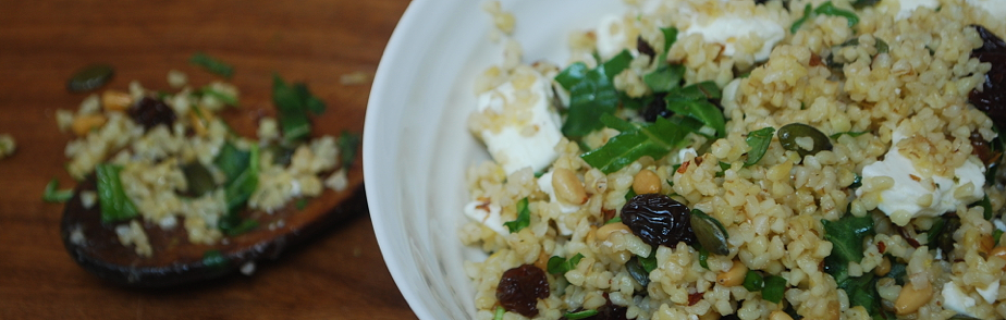 Bulgar Wheat with Feta, Berries, Rocket - Cooking Them Healthy