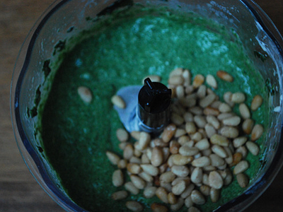 Secret Spinach Sauce - prep