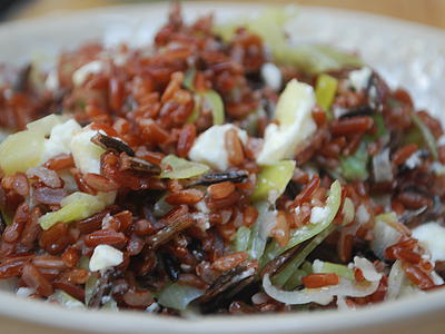 Red Rice with Feta & Leeks