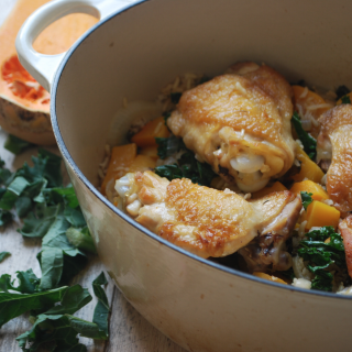 One pot chicken with kale and buternut squash