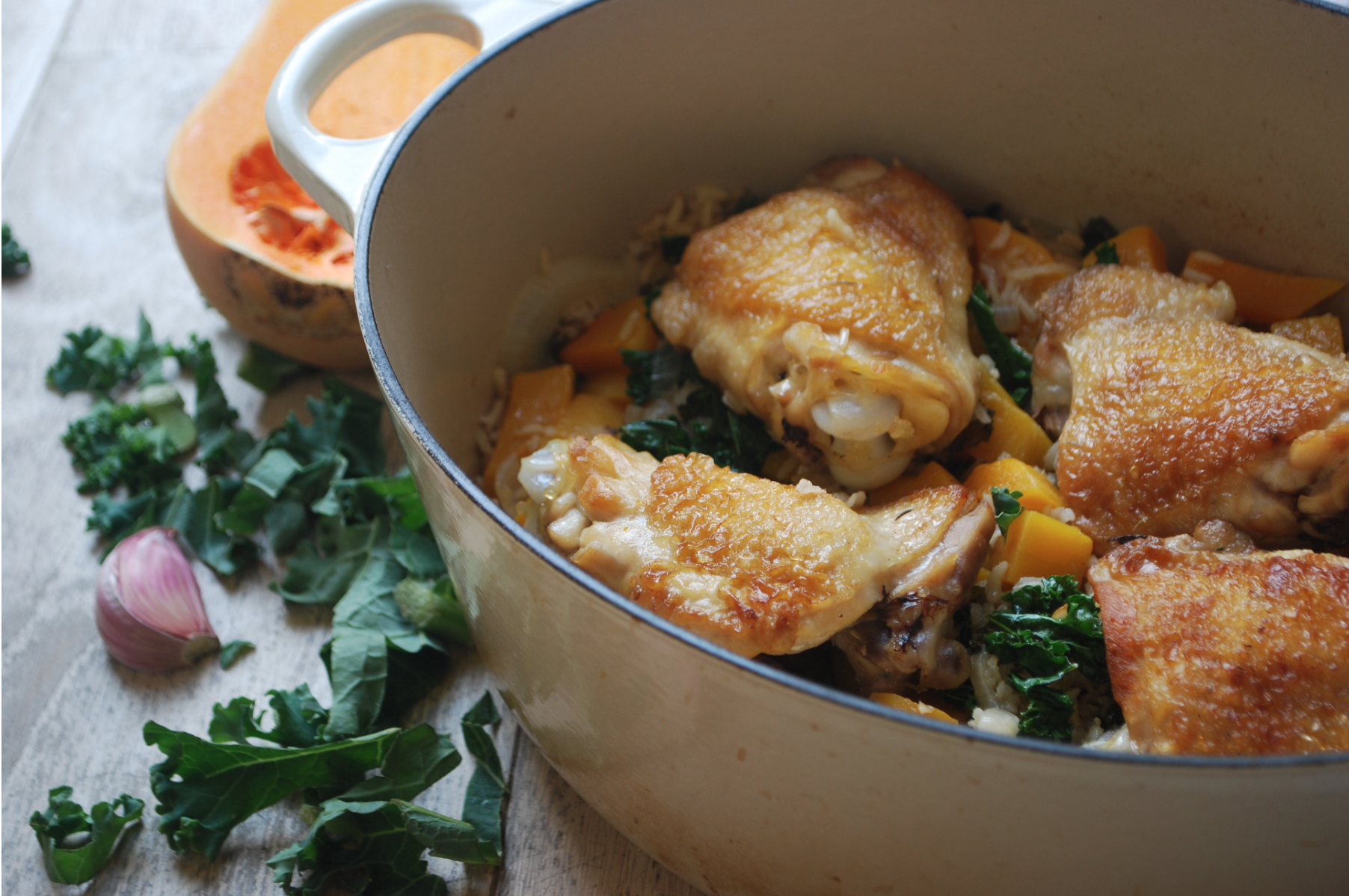 One pot chicken with kale and buternut squash - Winter Warmers