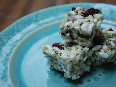 Berry & Chia Seed Rice Crispy Squares