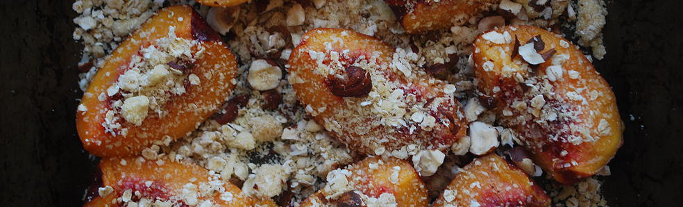 Roasted Nectarines with Crumble Topping