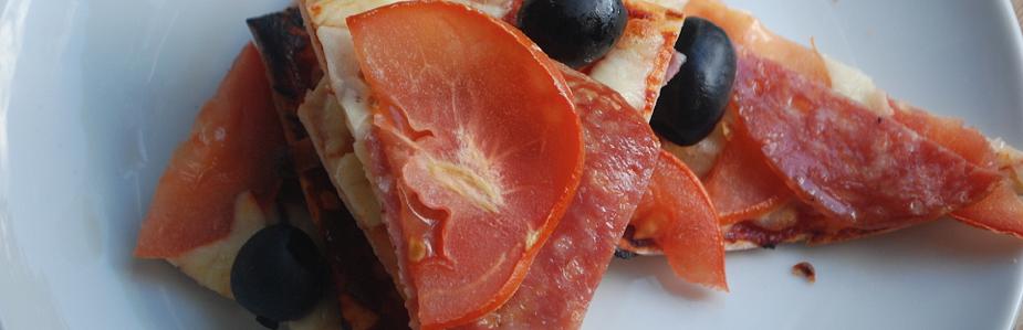 Mozzarella, Salami and Olive Pizza